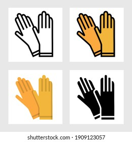 Rubber gloves icon vector design in filled, thin line, outline and flat style.