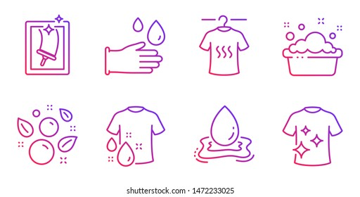 Rubber gloves, Water splash and Dry t-shirt line icons set. Hand washing, Clean bubbles and Wash t-shirt signs. Window cleaning symbol. Hygiene equipment, Aqua drop. Cleaning set. Vector