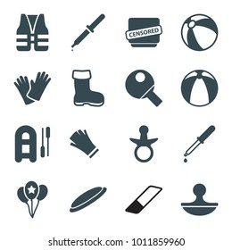 Rubber icons. set of 16 editable filled rubber icons such as boot, pacifier, beach ball, inflatable boat, gloves, pipette, censored, stamp, balloon, table tennis, life vest