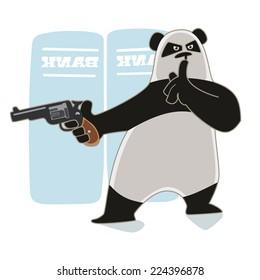 Rubber Panda holding a gun.