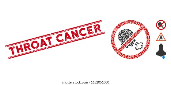 Rubber red stamp seal with Throat Cancer caption between double parallel lines, and collage no sneeze icon. Mosaic vector is designed with no sneeze icon and with randomized ellipse spots.