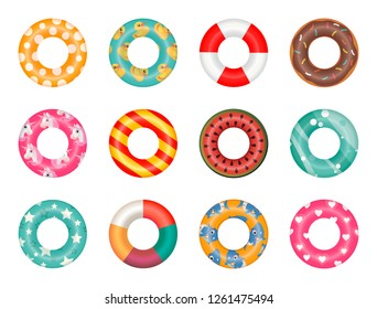 Rubber rings set isolated on white background with unicorn, baby shark, duck, hearts pattern. Swimming ring colorful rubber toy realistic icons. Summer, water and beach theme, Lifebuoy flat vector set