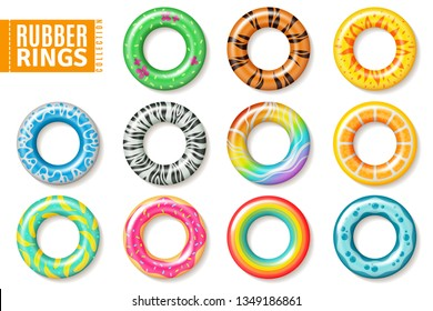 Rubber rings. Swimming inflatable float pool kids buoy toys colorful lifesaver ring children beach summer sea realistic vector collection