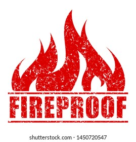 Rubber stamp Fireproof, red design with blazing flame.