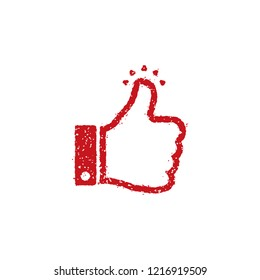 rubber stamp icon (for teachers using at school) / thumbs up