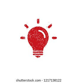 rubber stamp icon (for teachers using at school)  / light bulb