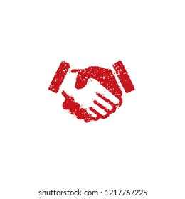 rubber stamp icon (for teachers using at school)  / shake hands