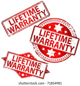 """Rubber stamp illustrations showing """"LIFETIME WARRANTY"""" text"""