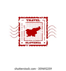 Rubber Stamp with Map of Slovenia,vector illustration