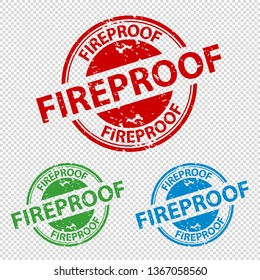 Rubber Stamp Seal Fireproof - Vector Illustration - Isolated On Transparent Background