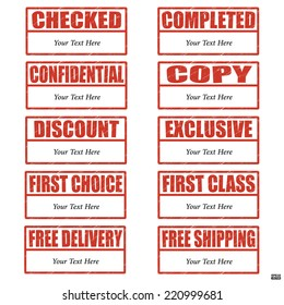 Rubber stamp set about documentary with red text and blank area for your text on white background.