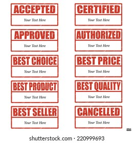 Rubber stamp set about documentary and products with red text and blank area for your text on white background.