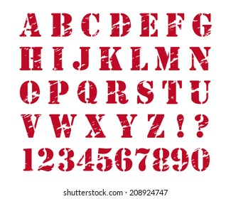 Rubber stamp style alphabet