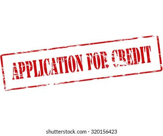 Rubber stamp with text application for credit inside, vector illustration