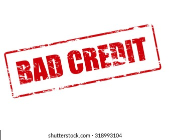 Rubber stamp with text bad credit inside, vector illustration