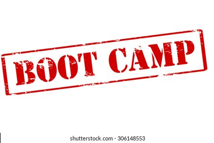 Rubber stamp with text boot camp inside, vector illustration