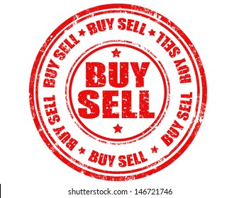 Rubber stamp with the text buy sell written inside, vector illustration