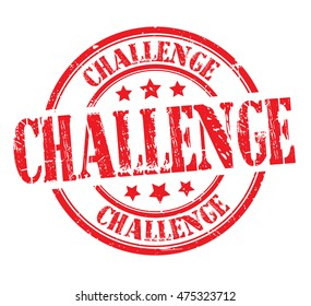 "rubber stamp with text ""challenge"" on white, vector illustration"