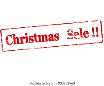 Rubber stamp with text Christmas sale inside, vector illustration