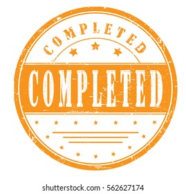 "rubber stamp with text ""completed"" on white, vector illustration"