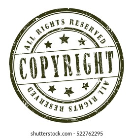 "rubber stamp with text ""copyright, all rights reserved"" on white, vector illustration"