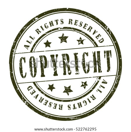 Rubber Stamp Text Copyright All Rights