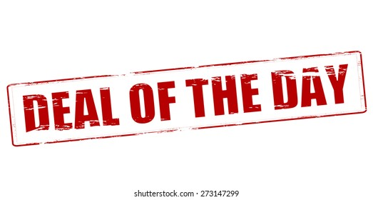 Rubber stamp with text deal of the day inside, vector illustration