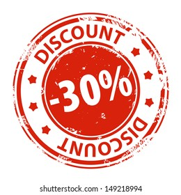 Rubber stamp with text Discount 30 percent icon isolated on white background. Vector illustration