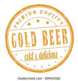 "rubber stamp with text ""gold beer, great taste,cold and delicious"" on white, vector illustration"