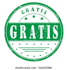 """rubber stamp with text """"gratis"""" on white, vector illustration"""