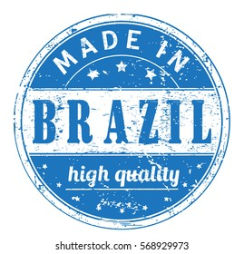 """rubber stamp with text """"made in Brazil, high quality"""" on white, vector illustration"""