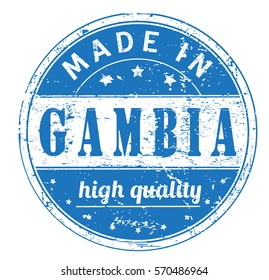 """rubber stamp with text """"made in Gambia, high quality"""" on white, vector illustration"""