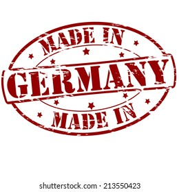 Rubber stamp with text made in Germany inside, vector illustration