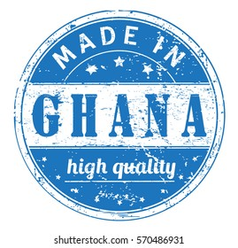 """rubber stamp with text """"made in Ghana, high quality"""" on white, vector illustration"""