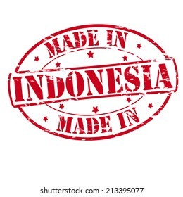 Rubber stamp with text made in Indonesia inside, vector illustration