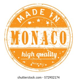 "rubber stamp with text ""made in Monaco, high quality"" on white, vector illustration"