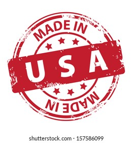 Rubber stamp with text Made in USA icon isolated on white background. Vector illustration