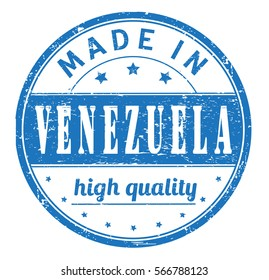 """rubber stamp with text """"made in Venezuela, high quality"""" on white, vector illustration"""
