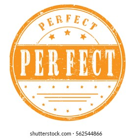 "rubber stamp with text ""perfect"" on white, vector illustration"