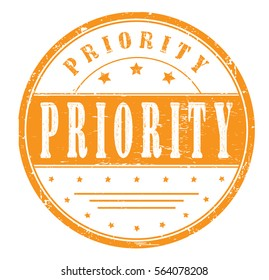 "rubber stamp with text ""priority"" on white, vector illustration"