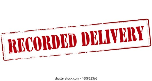 Rubber stamp with text recorded delivery inside, vector illustration