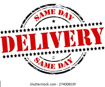 Rubber stamp with text same day delivery inside, vector illustration