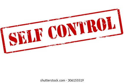 Rubber stamp with text self control inside, vector illustration