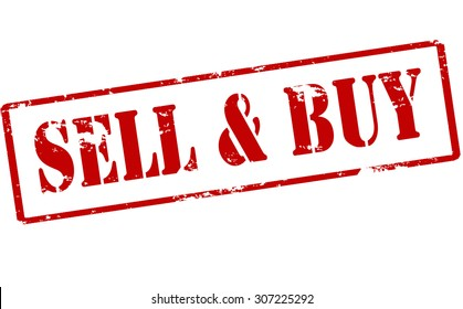 Rubber stamp with text sell and buy inside, vector illustration