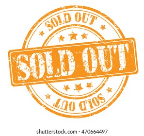"rubber stamp with text ""sold out"" on white, vector illustration"