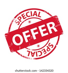 Rubber stamp with text special offer - icon isolated on white background. Vector.