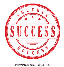 Rubber stamp with text, SUCESS, on white, vector illustration