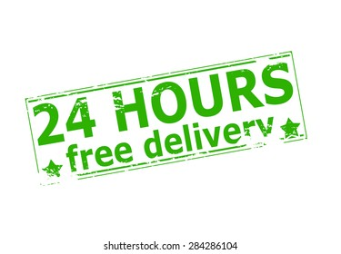 Rubber stamp with text twenty four hours free delivery inside, vector illustration