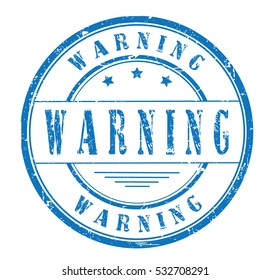 """rubber stamp with text """"warning"""" on white, vector illustration"""
