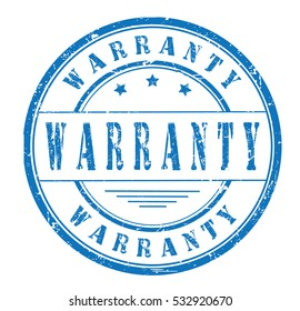 """rubber stamp with text """"warranty"""" on white, vector illustration"""